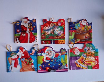 Set of 6 double for gifts, Christmas and gifts, 5 cards, 5x8cm and approximately 6x7cm