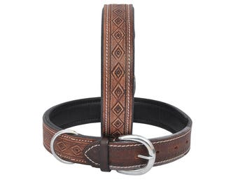 "Genuine Leather Dog Collar, Padded, 1.25"" Wide with Hand Crafted"