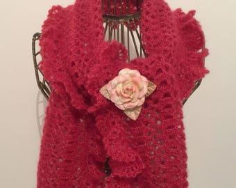 Red mohair/silk yarn scarf