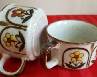 Pair of small soup cups, or large coffee mugs.