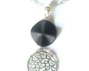Silver plated necklace. Black and Silver Circle Pendant.