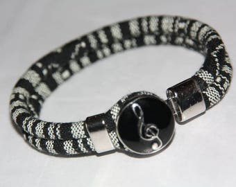 ETHNIC black & white snap BRACELET