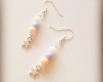 Earrings silvered pearl pastel and star