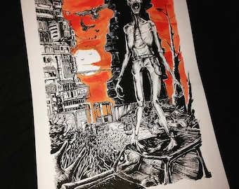 Printed illustration, art post apocalyptic