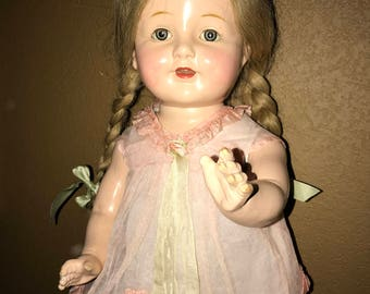 "Antique Composition All Original Madame Hendren 22"" Doll"
