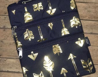 Navy Hipster with Gold Arrows with Navy Zippers and Strap