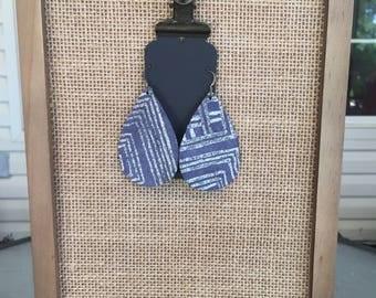 Blue Aztec Leather Earrings