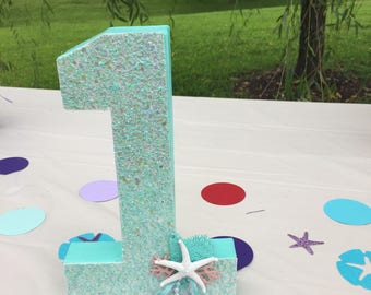 First birthday, Birthday Centerpiece,  Happy Birthday Numbers, Birthday party Letters, Mermaid Party Numbers, Mermaid birthday party