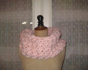 Large pink snood crocheted