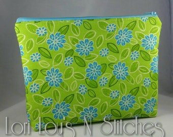 Zipper Pouch Green and Blue Floral 7x9