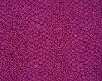 Fabric stretch fuchsia snakeskin imitation