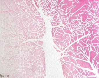 Pink and White trees, Original Watercolour painting, pink painting, tree painting, negative painting
