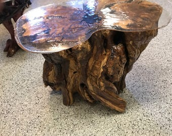 Olive wood trunk, with clear epoxy top