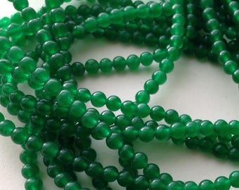 set of 20 jade beads 4 mm emerald green /3/