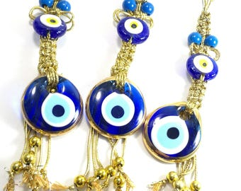 5  pcs gold blue evil eye -3,5 cm diameter evil eye- home decor- evil eye wall hanging- macrame  ornament-good luck charm-wedding favors