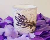 Lavender juice water glass floral kitchen decor decoupage handmade romantic gift for her, gift for mother,mum, gift idea for girlfriend