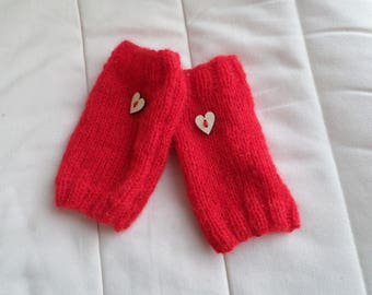 pair of fingerless gloves knitted with red MOHAIR wool