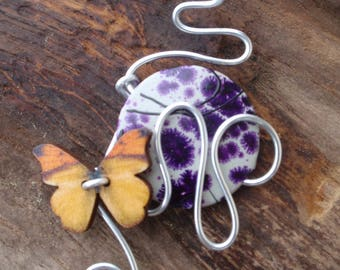 Necklace and pendant necklace bronze steel orange with aluminum pendant, orange wooden butterfly and purple bead