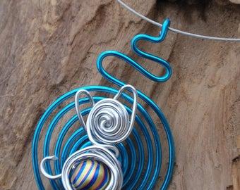 Crew neck, aluminium and bead pendant. Cat. Cat. original, handmade necklace, gift idea