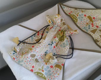Bag pouch to put blanket pacifier... animals layer of the forest