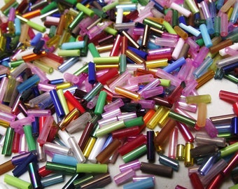 500 seed beads 2 mm multicolored glass tubes.