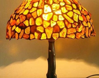 Tiffany Amber Lamp 10'', Tiffany Desk Lamp, Baltic Amber