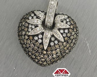 18k Solid White Gold 5.00ctw Chocolate and White Diamond Strawberry Heart Pendant