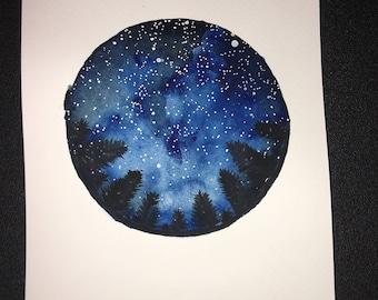 Watercolour A5 Night Sky