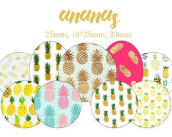 "Cabochons collage sheet / digital ""Pineapple, summer, yellow, tropical fruit"" round and oval"