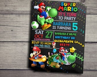 Super Mario Birthday Invitation, Super Mario Birthday Invite, Super Mario Invitations, Super Mario Birthday Invite
