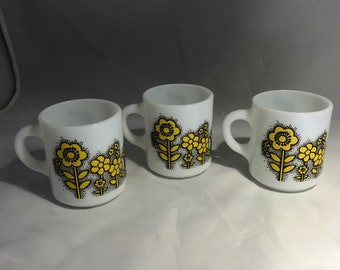 Yellow Floral Milk Glass Set of 3 Cups