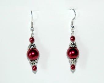 Cherry Red Pearl Earrings