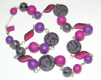 Necklace with purple polymer clay, fuschia and black