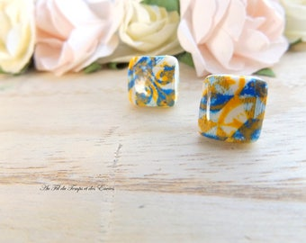 Stud Earring square : Azulejos of Porto yellow and  blue
