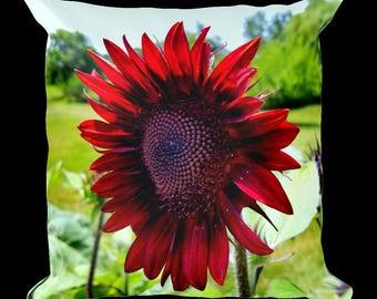 Red Sunflower Decorative Throw Pillow