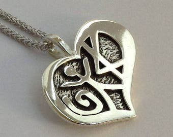 Love Pendant in Ancient Hebrew Oxidized Silver Jewelry Designed by Marla Jean Clinesmith and Crafted by Moshe Ozery of MoJudaica