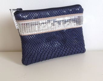 purse or cosmetic makeup leatherette dragon Blue Navy