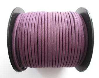 1 mètre cordon plat suédine largeur 2.5 mm couleur : violet
