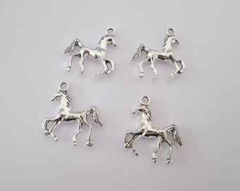4 breloque cheval 25 x 22 mm en métal argenté