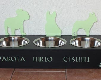 Triple stand bowls for french bulldog