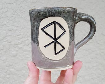 Hand made Peace & Happiness bind rune mug