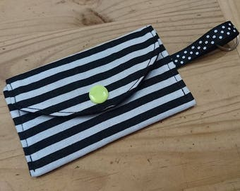 Coin purse Keychain cotton black and white stripes pattern