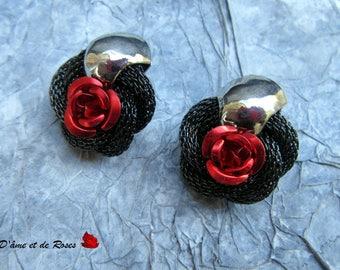 red rose baroque earrings