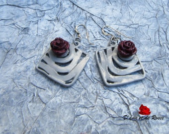 Earrings 6 grey and pink and plum