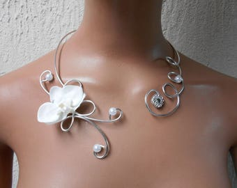 Necklace for bride or witness - white and silver with Orchid