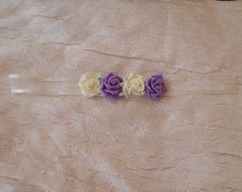 Bracelet Ribbon tie color purple and white wedding flower
