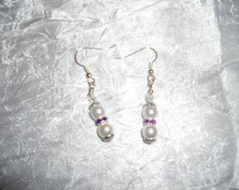 Bridal earrings White Pearl beads and rhinestones