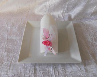 baptism or wedding pink napkin ring / white