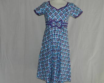 """Oval dress """"Zina"""" blue zipper invisible dan the back. One size 34/36"""