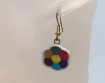 Fimo cane multicolor Flower Earrings